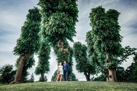 Brudepar i park. København. Bryllupsfoto